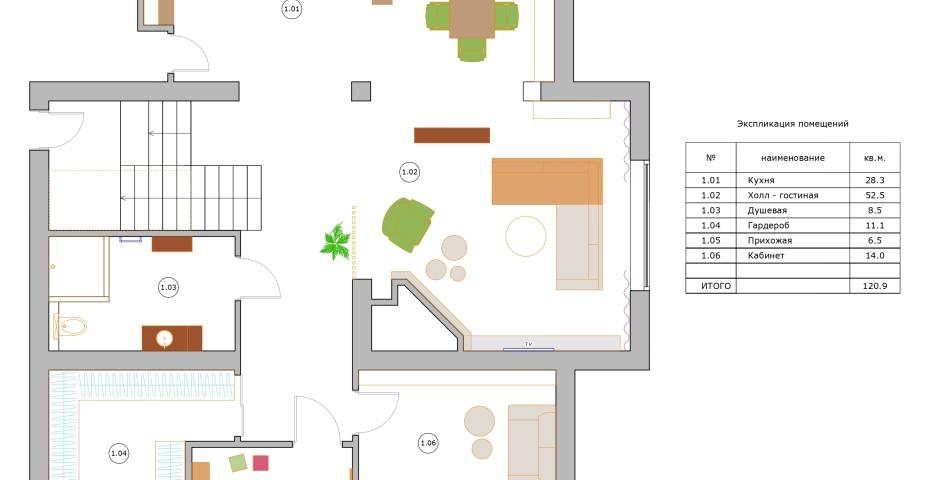 Планировка - 1 этаж