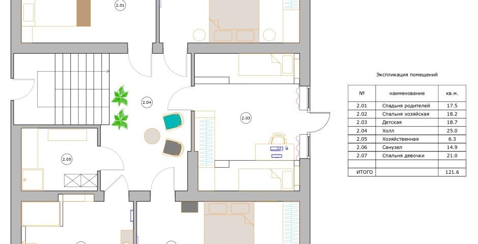 Планировка - 2 этаж